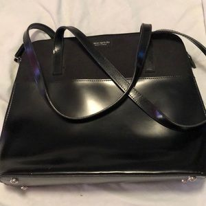 Kate Spade NY black leather/canvas shoulder bag